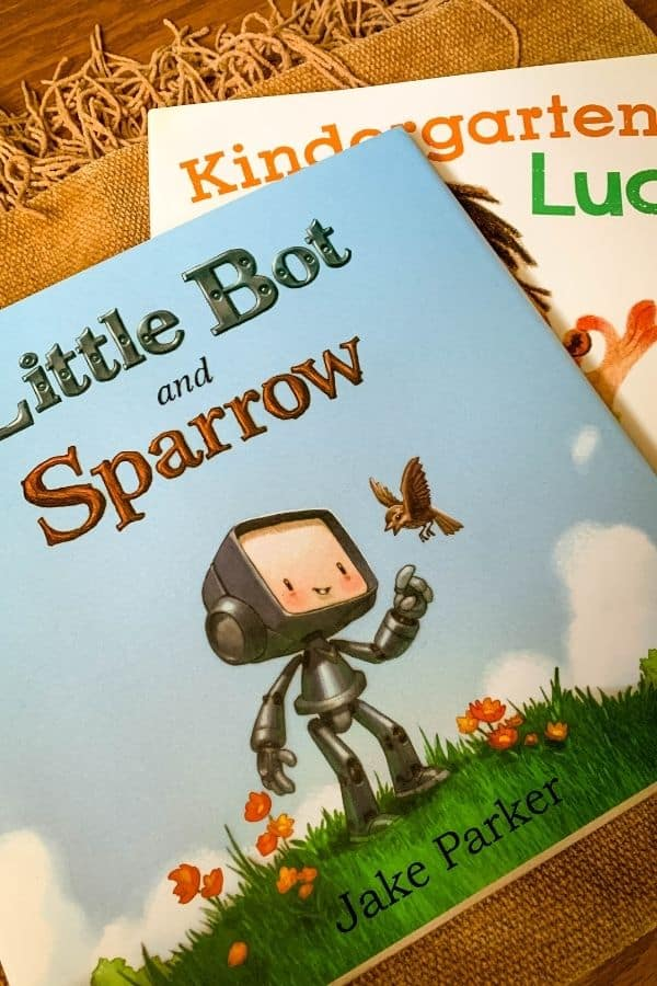 Little Bot and Sparrow book and Kindergarten Luck book, both from the kids' subscription box Bookroo