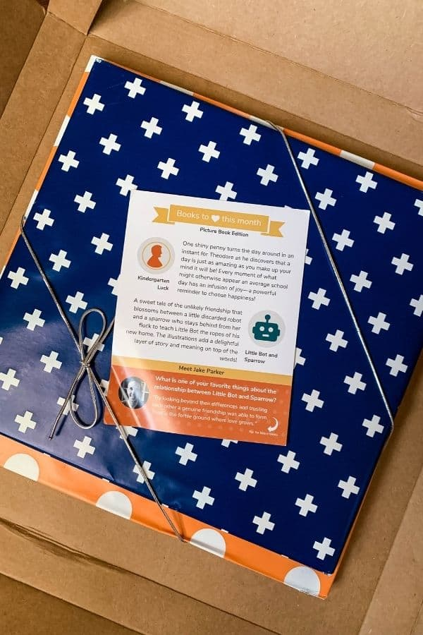 one book wrapped in orange and white wrapping paper and another book wrapped in blue and white wrapping paper, tied together with a silver ribbon in a cardboard box. These children's books were mailed from Bookroo.