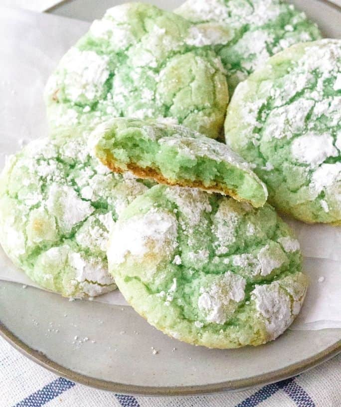 plate filled with pistachio crinkle cookies