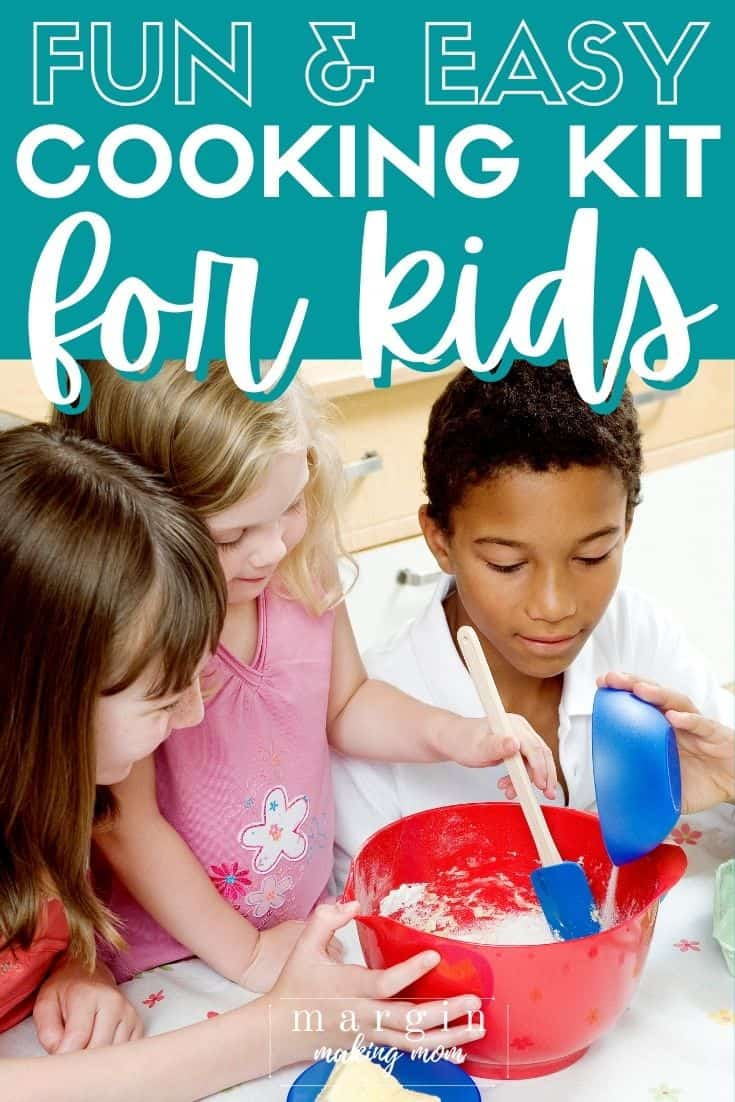 three children working together to mix a batter in a mixing bowl