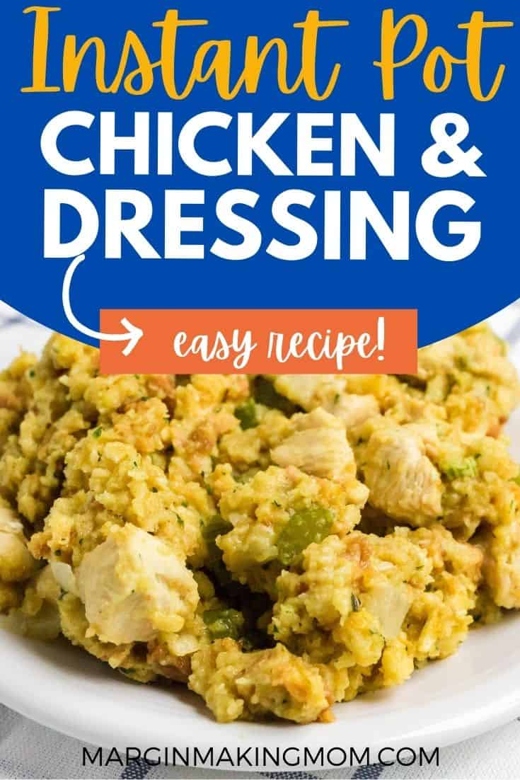 a white plate with a helping of chicken and dressing made in the Instant Pot