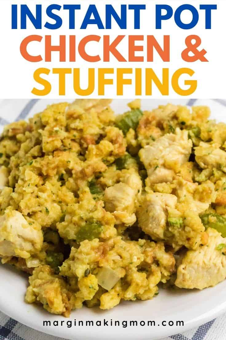 A white plate with Instant Pot chicken and stuffing served on it