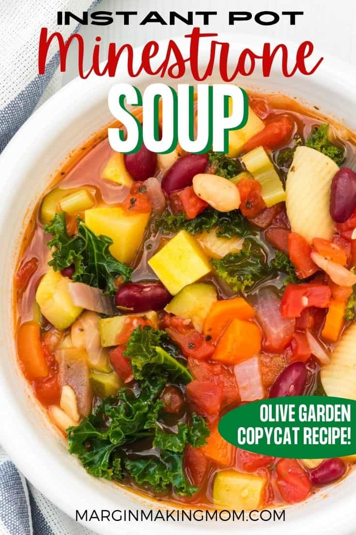 a white bowl of pressure cooker minestrone soup made with an Olive Garden copycat recipe.