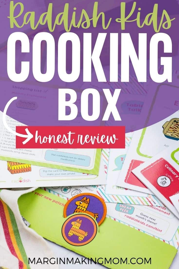 the cards and apron patch that come in a Raddish Kids cooking box