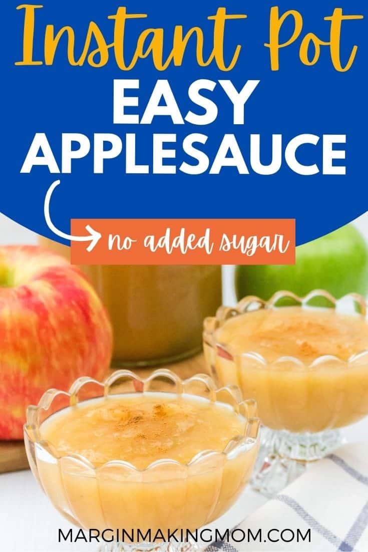 glass bowls filled with Instant Pot applesauce, topped with a sprinkling of cinnamon