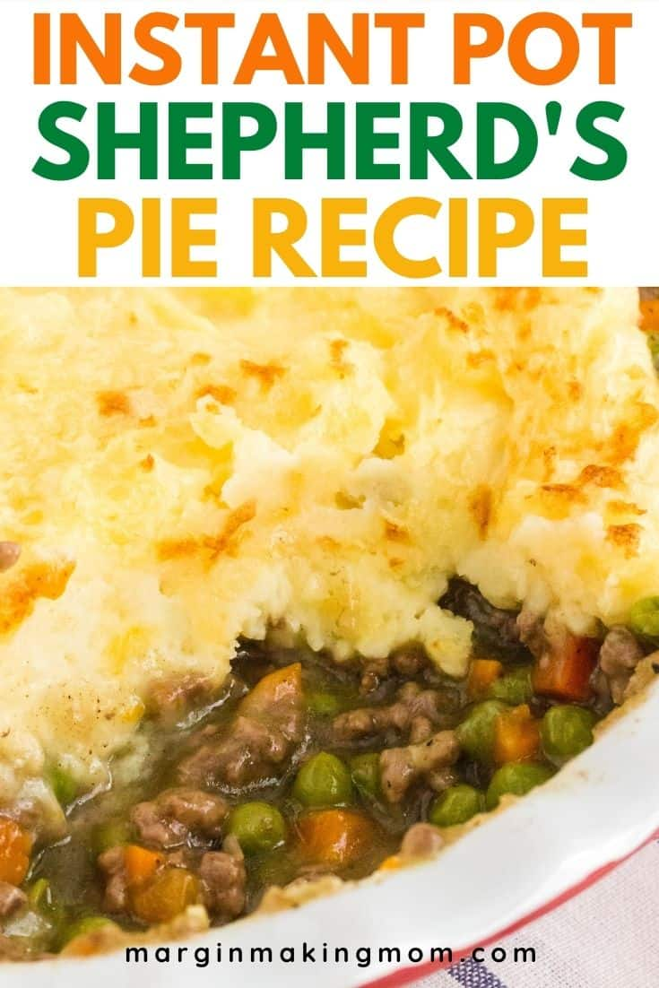 close-up view of Instant Pot Shepherd's Pie in a pie plate