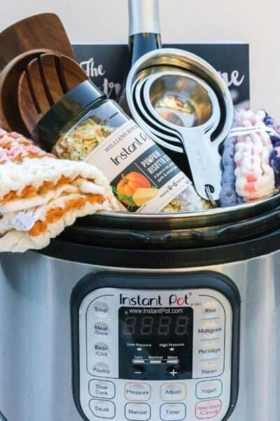 an Instant Pot gift basket chock full of various goodies