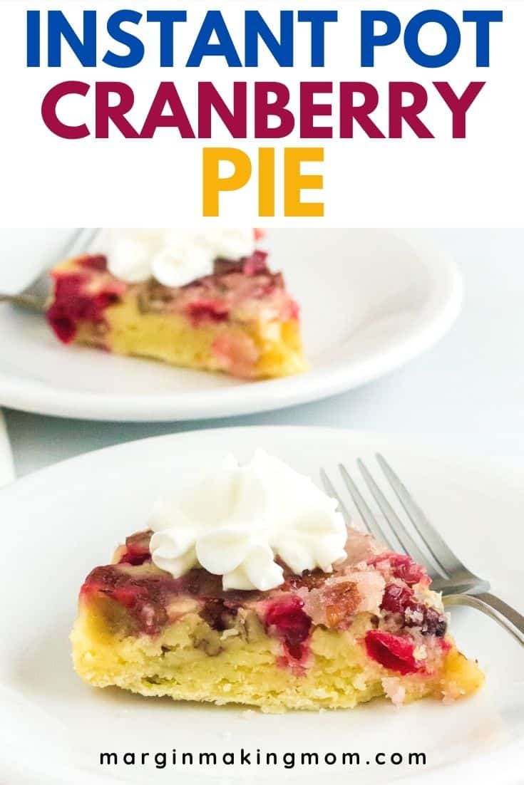 Two white plates, each serving a slice of Nantucket cranberry pie cooked in the pressure cooker