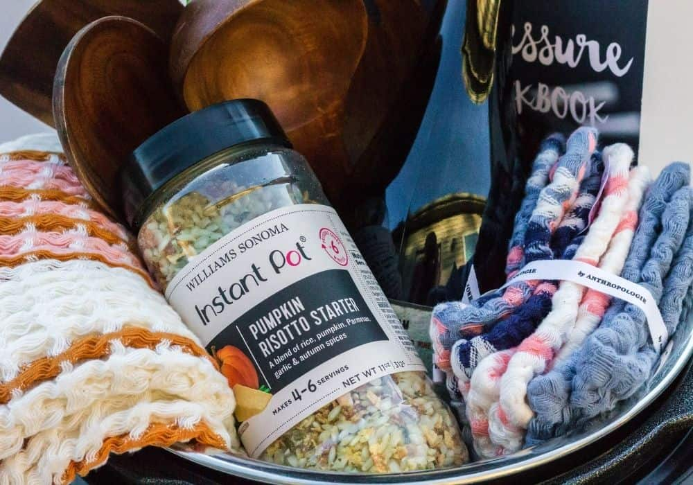 close-up view of the contents of the Instant Pot gift basket for newlyweds
