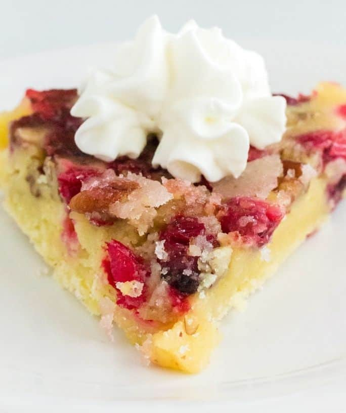 slice of Instant Pot Nantucket cranberry pie on a white plate