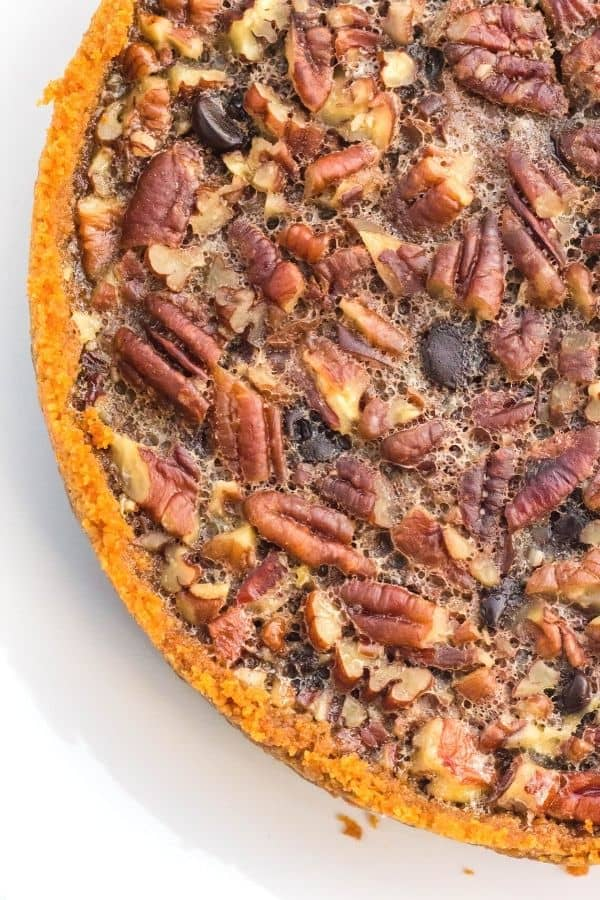 top view of the Instant Pot pecan pie with chocolate chips