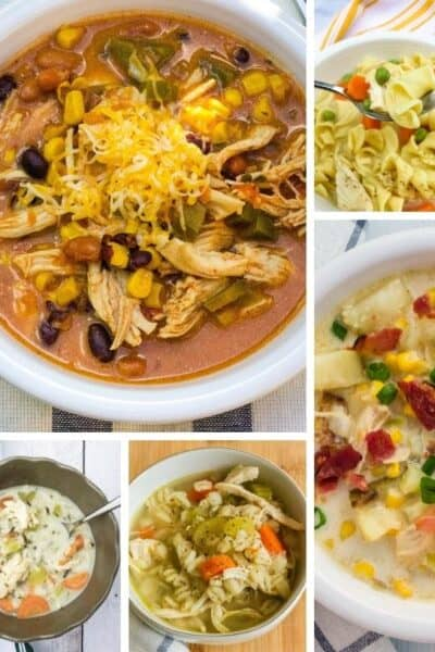 collage image of various Instant Pot chicken soups prepared and served