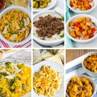collage image featuring six Instant Pot weeknight dinners that can be made quickly