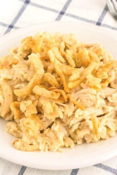 white plate of Instant Pot french onion chicken and rice