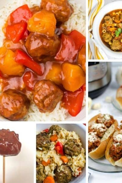 collage image of five different Instant Pot frozen meatballs recipes