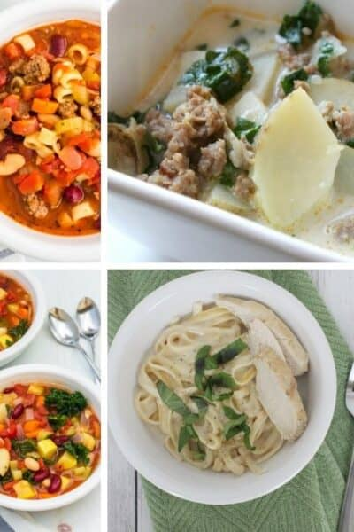 collage image of various Instant Pot Olive Garden recipes