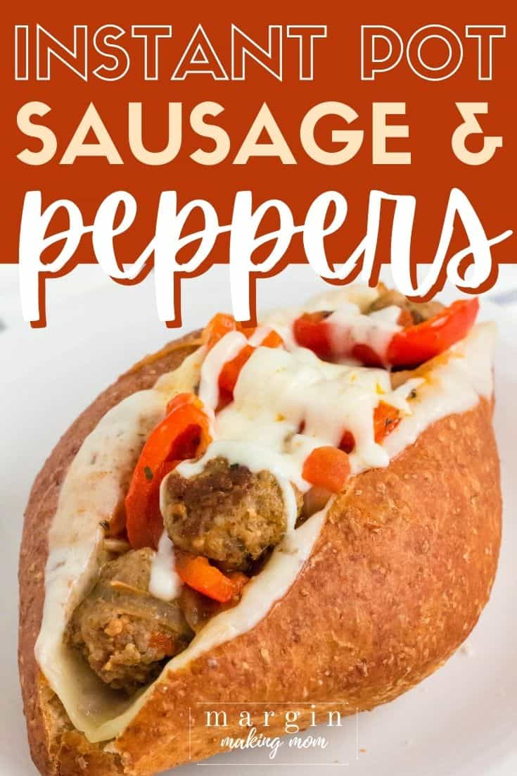 a sandwich roll filled with melted cheese, Instant Pot sausage and peppers.