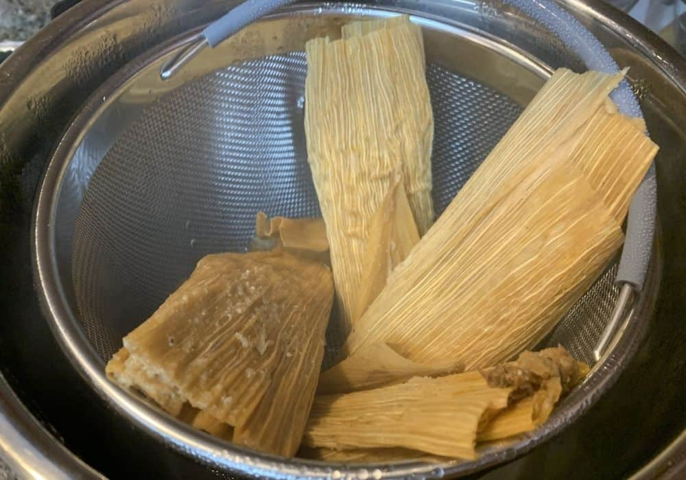 freshly steamed tamales from the Instant Pot