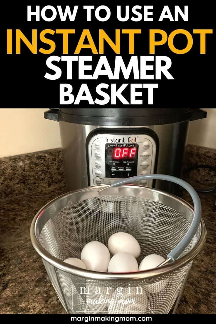 a mesh steamer basket containing eggs resting on a counter in front of an Instant Pot pressure cooker