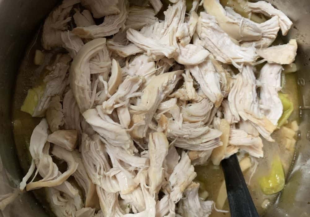 Shredded chicken for Instant Pot Mississippi chicken and noodles