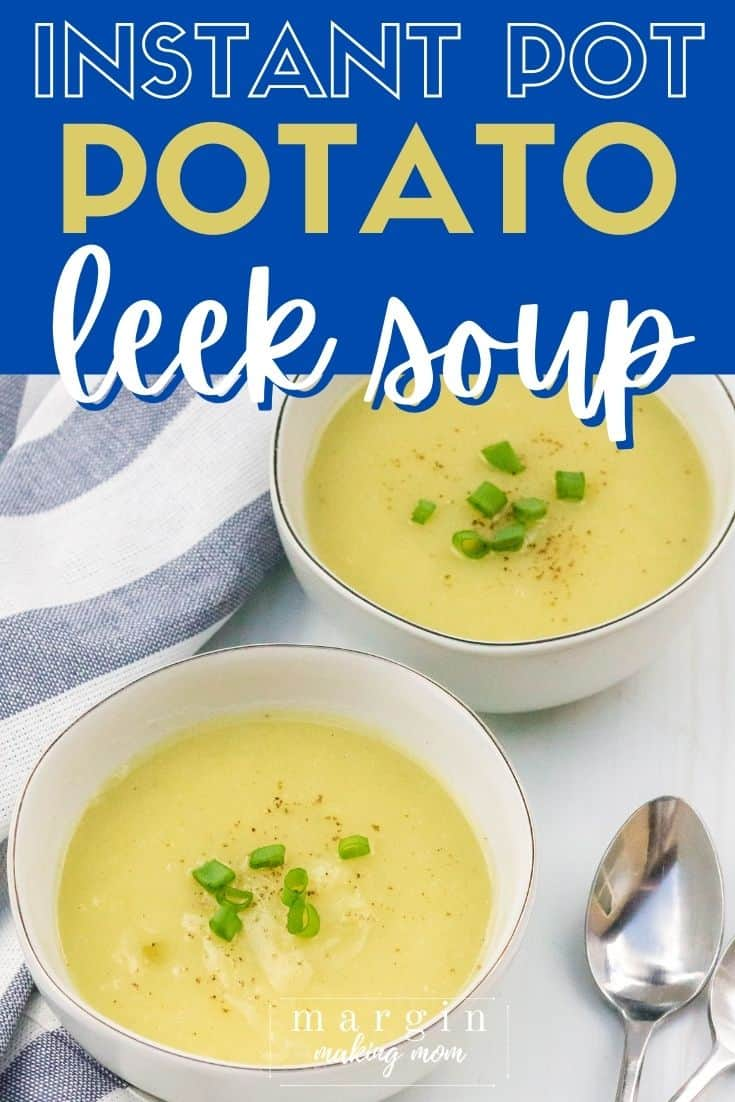 two white bowls of pressure cooker potato leek soup