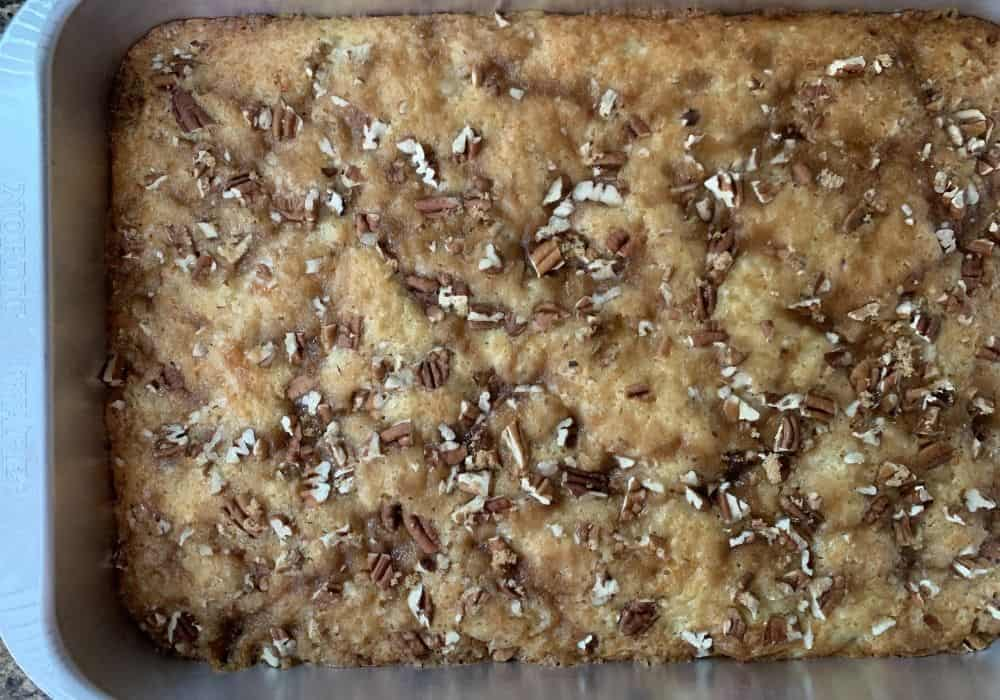 freshly baked granny cake, ready for glaze to be applied