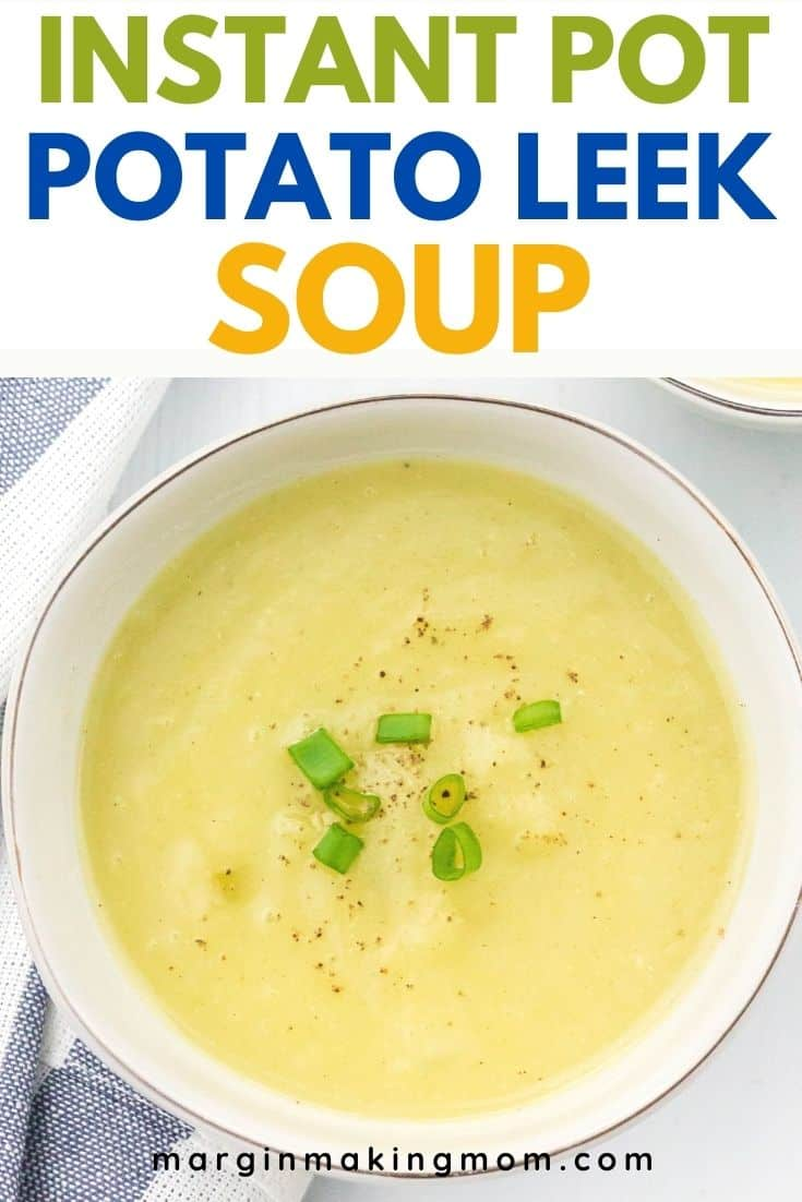 white bowl of potato leek soup that was cooked in the Instant Pot