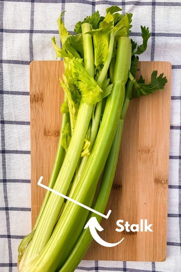 a full head of celery on a cutting board, labeled as a stalk of celery.