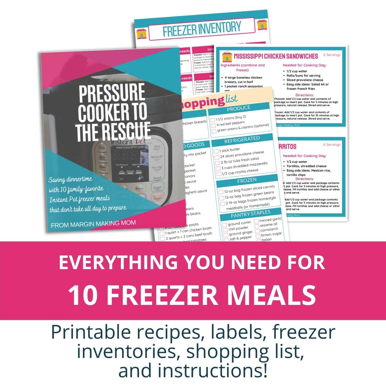 Instant Pot freezer meals document mockup of pages