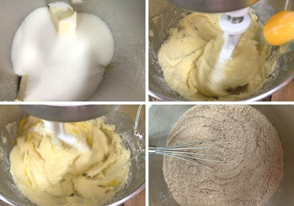collage image showing the steps for creaming butter, sugar, and eggs for the batter.