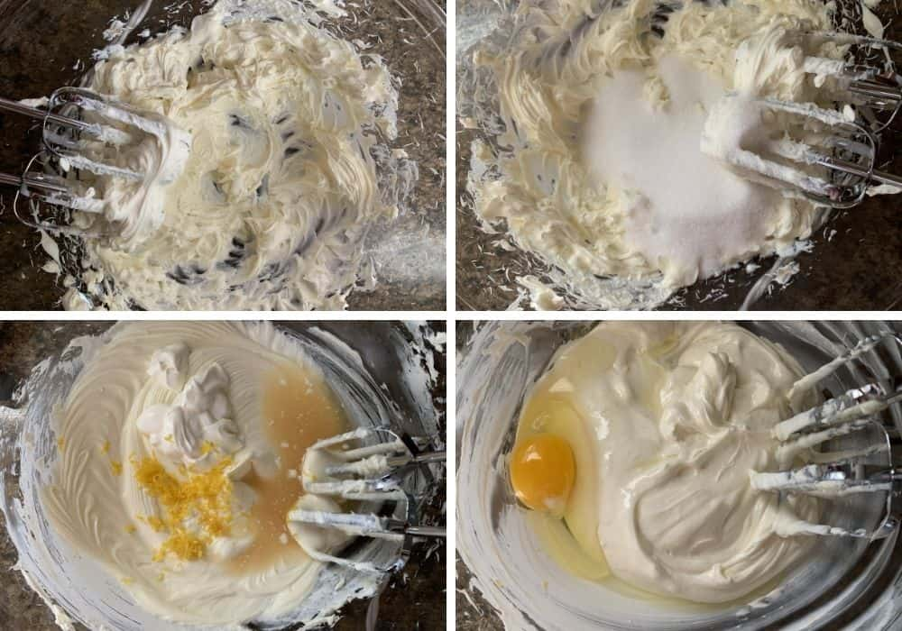 collage image showing the steps of beating the ingredients for the lemon cheesecake batter
