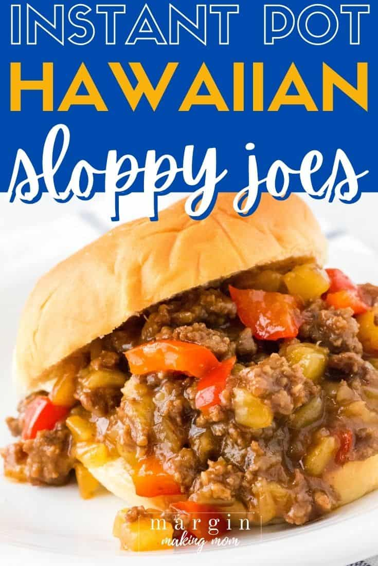 Instant Pot Hawaiian Sloppy Joes filling spilling out over a sweet Hawaiian roll