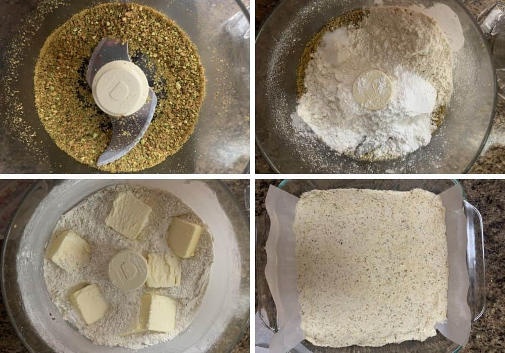 collage image showing the steps to processing the pistachios, sugar, flour, salt, butter into the dough for the crust of the lemon bars.