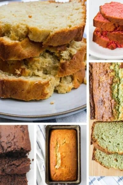 collage image showing different banana bread varieties