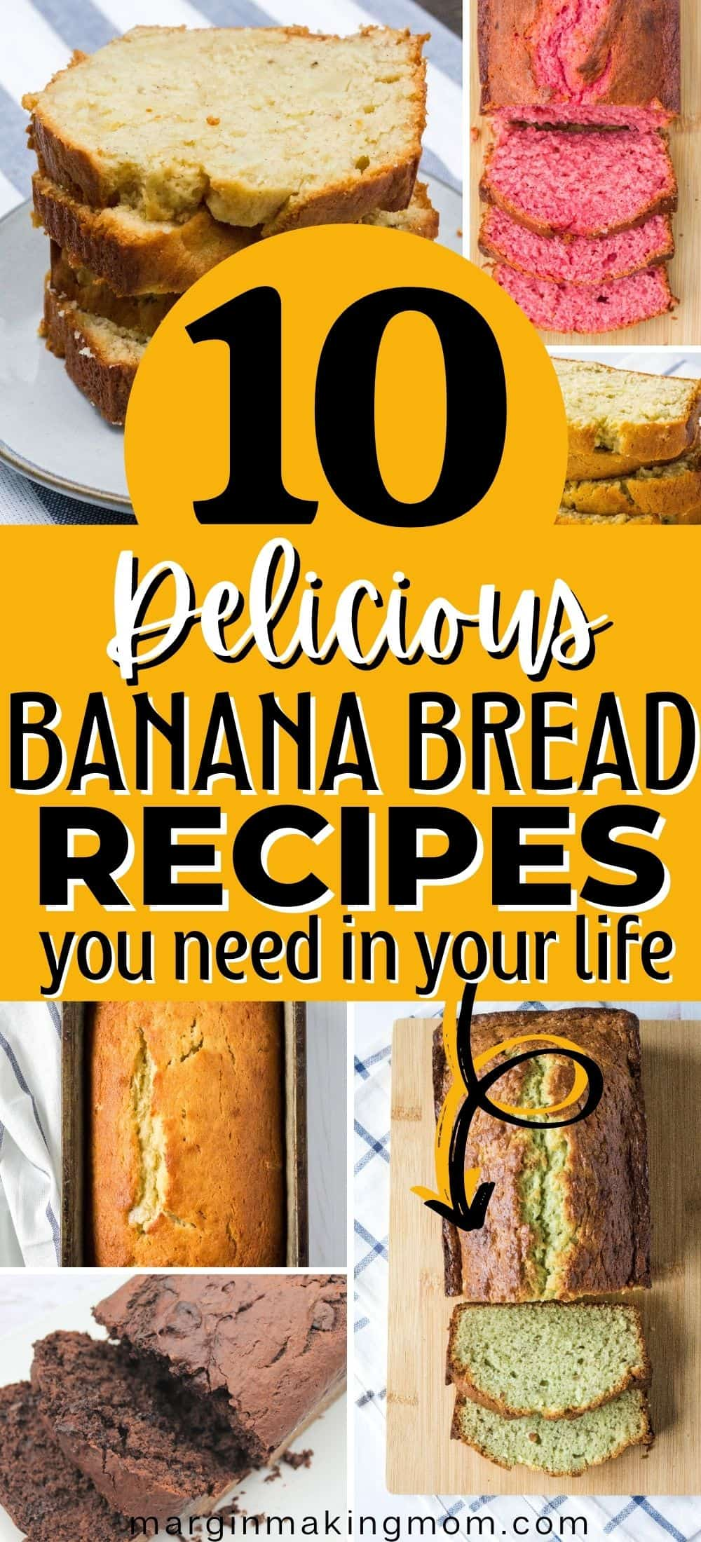 collage image showcasing different variations of banana bread