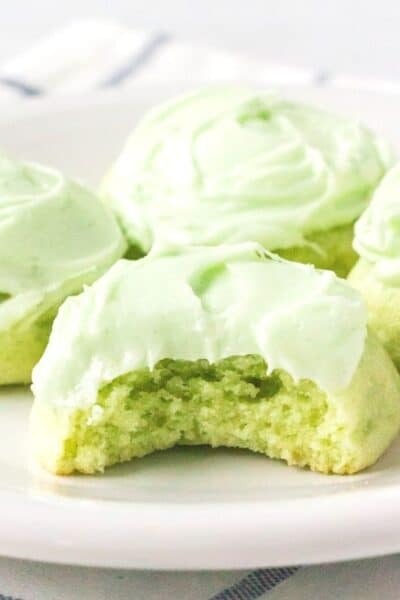 lime jello cookies on a white plate