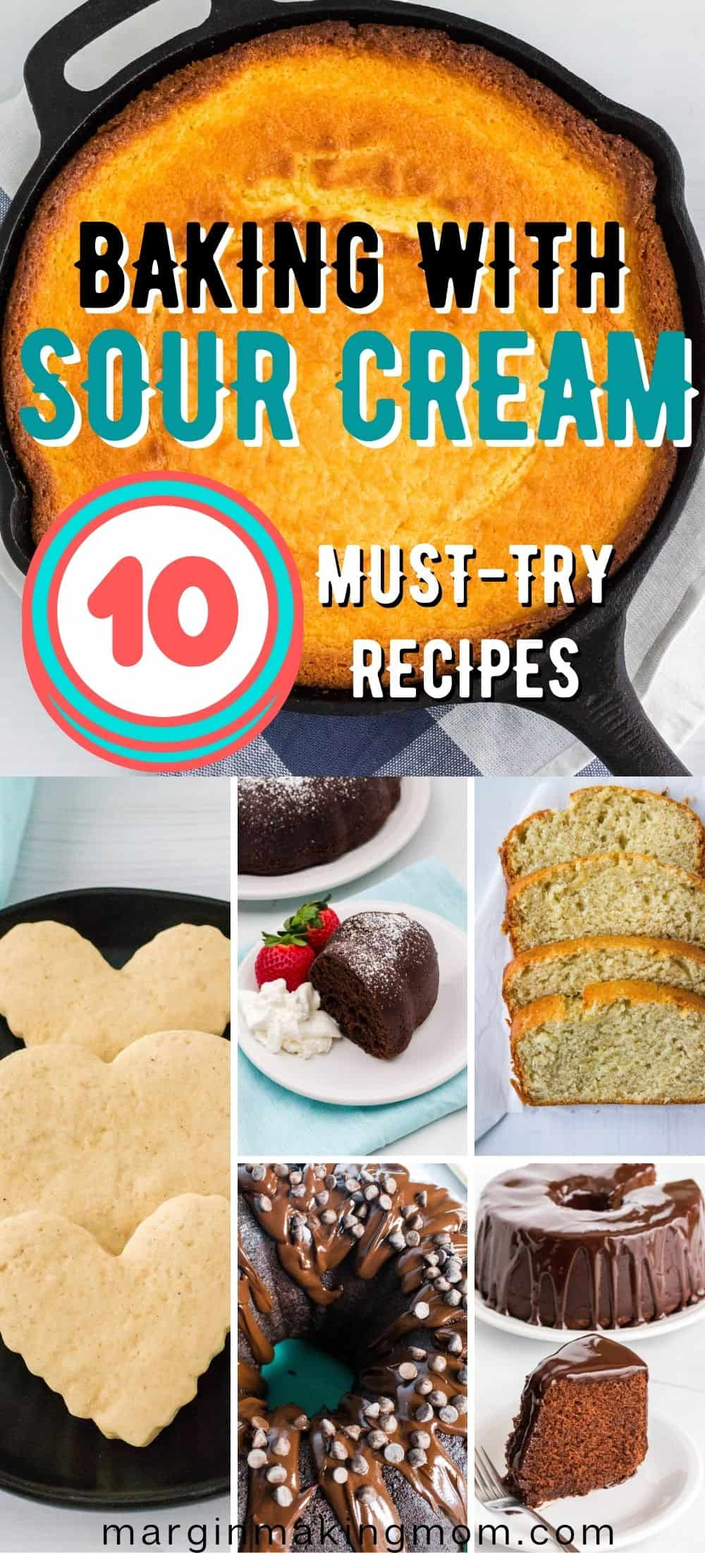 collage image with baked goods that use sour cream