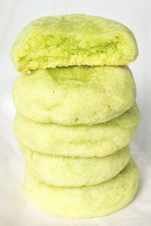 a stack of green unfrosted lime jello sugar cookies