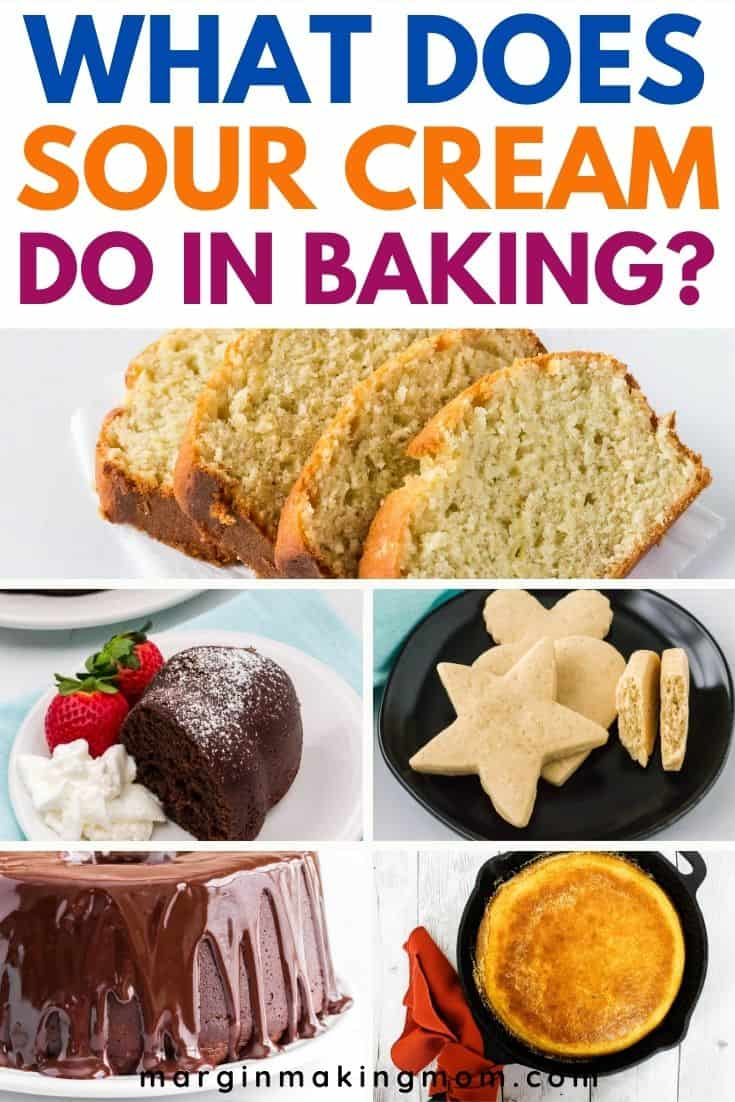 collage image of various baked goods that use sour cream as an ingredient