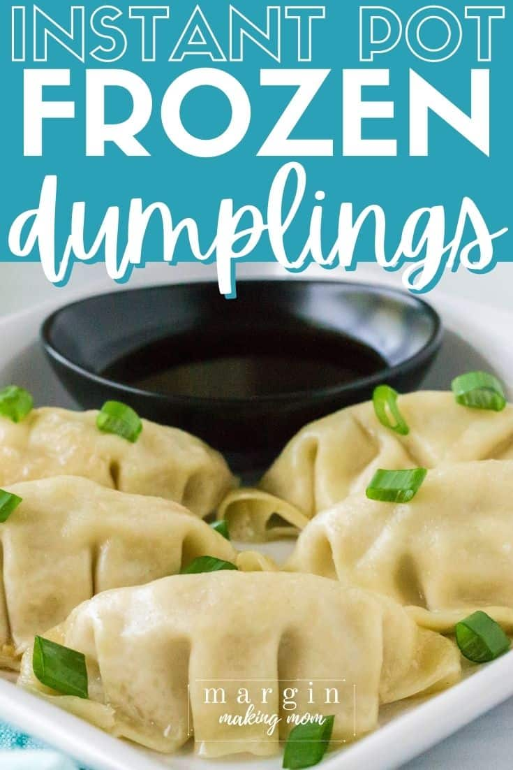 white plate with Instant Pot frozen dumplings served on it, sprinkled with sliced green onions, and a small black dipping bowl of soy sauce in the background.