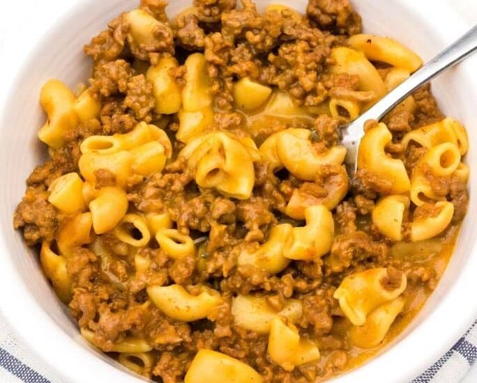 white bowl with a helping of Instant Pot Hamburger Helper (from a box)