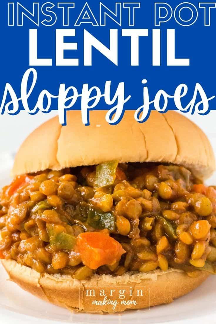 close-up side view of an Instant Pot lentil Sloppy Joe sandwich.