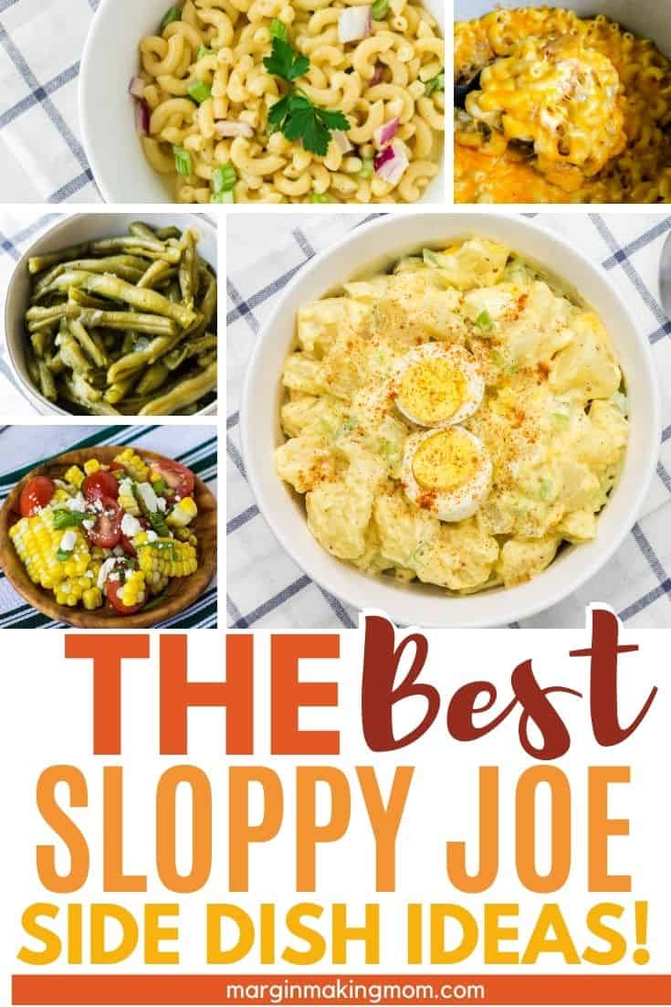 collage image with several photos of side dishes that go well with sloppy joes