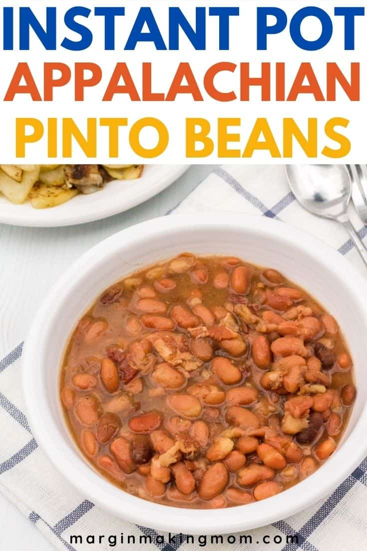 white bowl of Instant Pot pinto beans served alongside a plate of fried potatoes