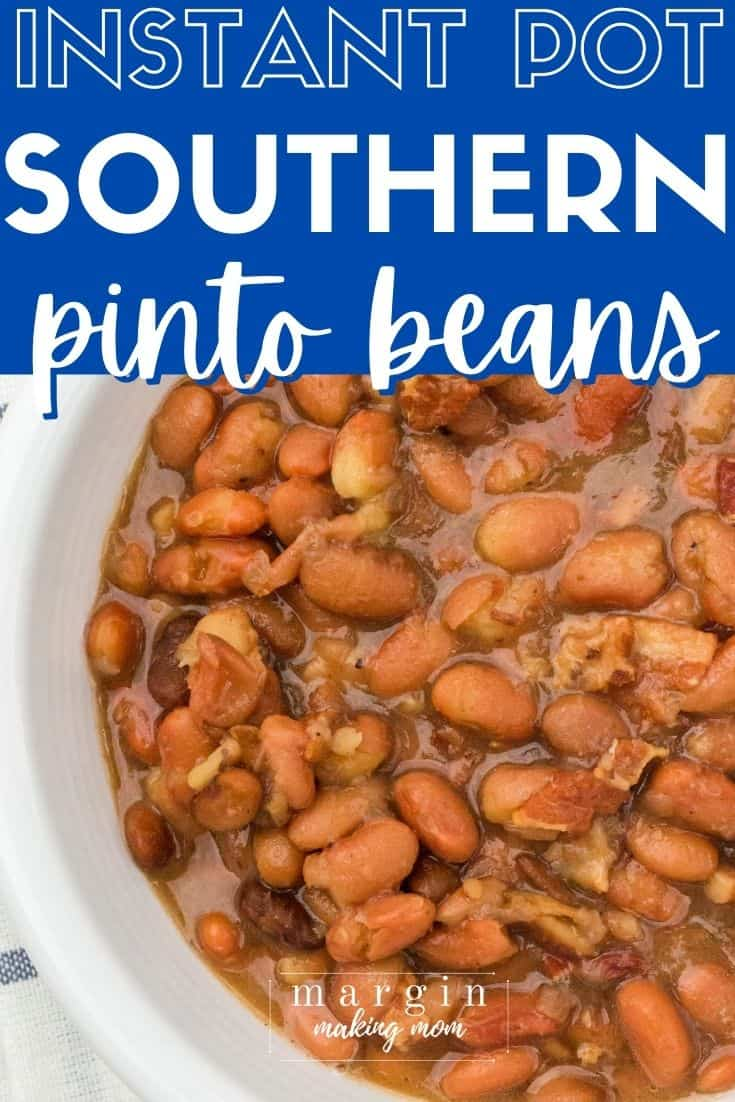close-up overhead view of a white bowl filled with southern Instant Pot pinto beans (aka brown beans and ham)