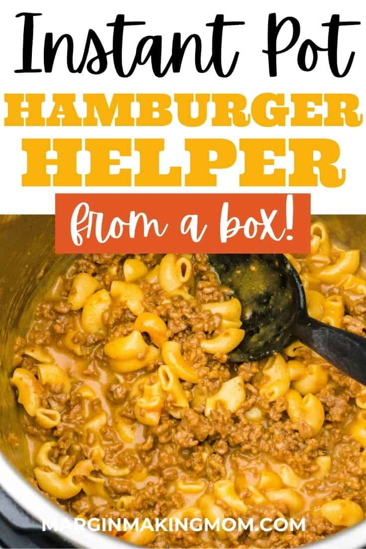 view of the insert pot of an Instant Pot with boxed Hamburger Helper (cheeseburger macaroni variety) freshly cooked