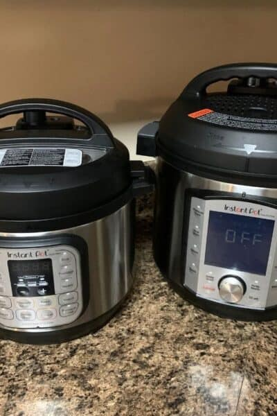 two Instant Pots on a kitchen counter--one is a 3-quart and one is a 6-quart.