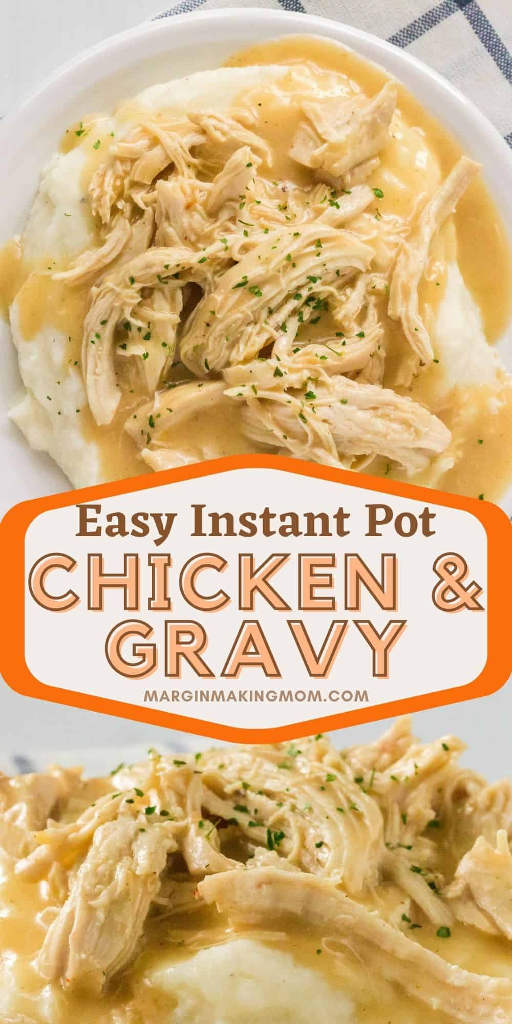 two images of Instant Pot chicken and rice, including an overhead view and a side view.