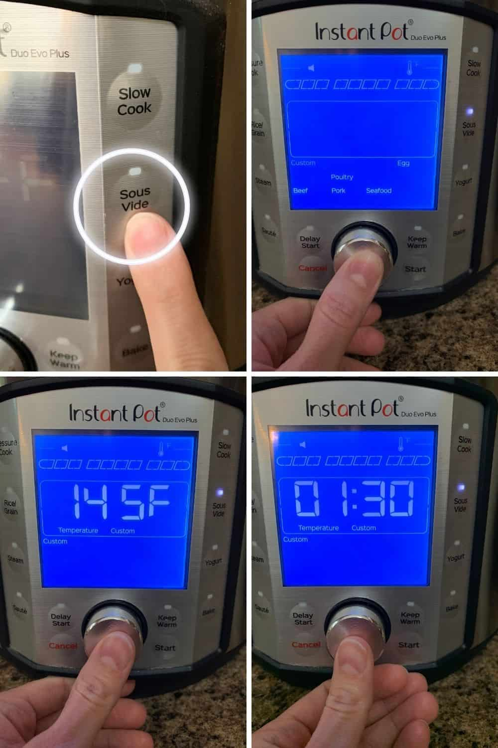 collage image showing the steps for using the Instant Pot sous vide program on the Instant Pot Duo Evo Plus.