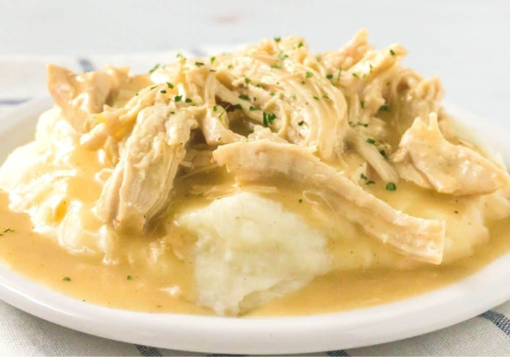 side view of pulled chicken, gravy, and mashed potatoes on a white plate for serving